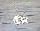Gold Star and Moon Necklace - Personalized Jewelry