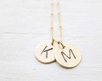 Gold Medallion Necklace Personalized Initial Charms Two Letter Pendants Monogram Gifts in Goldfilled