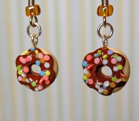 Donut Earrings - Chocolate Sprinkle
