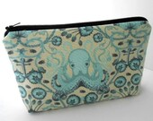 Aqua Octo Garden Large Cosmetic Bag Flat bottom Padded ECO Friendly Zipper Pouch