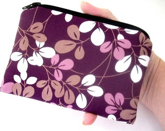 Little Zipper pouch Coin Purse Gadget Case ECO Friendly Padded Simply Plum  NEW