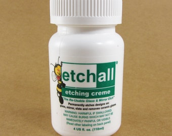 Etchall Etching Cream / 4 oz. /  Easily Etch Glass With Your Own Designs