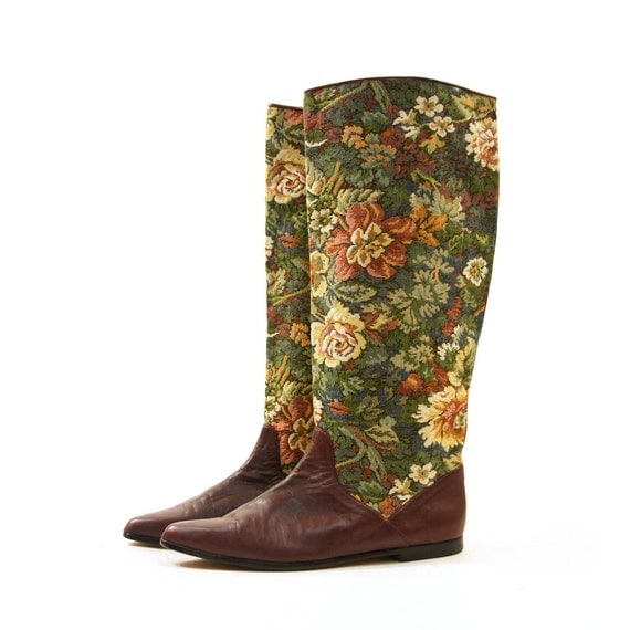 Reserved /// 80s Tapestry Riding Boots / Knee High / Equestrian Pull On Boots / Women's sz 12