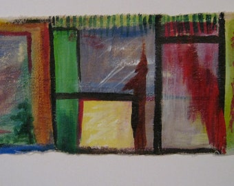Windows Original Abstract Painting Acrylic on Canvas 8.5 in X 23 in