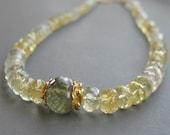 Necklace . Tourmaline . Yellow Aquamarine . Vermeil Gold