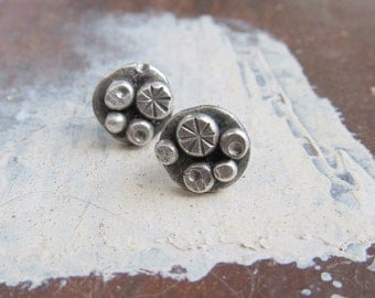 Boho Silver stud Earrings Sterling silver Button earrings Funky stamped silver earrings boho stud earrings post earrings