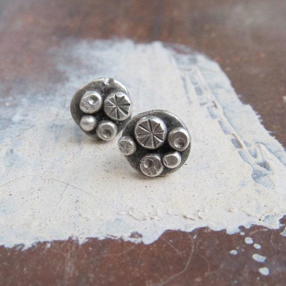 Boho Silver stud Earrings Sterling silver Button earrings Funky stamped silver earrings boho stud earrings post earrings