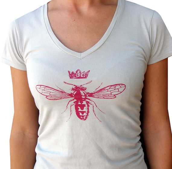 Queen Bee Women's VNeck Tee Shirt-Soft Cotton Hand Screen Printed-Silver-Magenta Ink