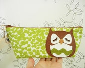 Stewart the Owl Spring Green Floral Cotton Canvas Case with Vinyl Applique with Custom Fabric