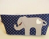 Peanut the Elephant Navy Blue Polka Dot Carry All Case with Vinyl Applique