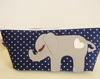 Peanut the Elephant Navy Blue Polka Dot Carry All Case with Vinyl Applique