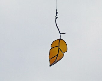 Glass Elm Leaf from San Francisco Amber Beer Bottle, Unique Wedding Gift, Anniversary Gift