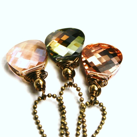 Pastel Crystal Necklace - The Shifters - Swarovski Brios Antiqued Brass Choose Color - Blush, Mossy Green, Luminous Pink Women's jewelry
