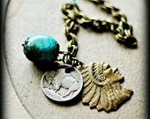 BUFFALO SKY ...  talula  ...  Urban Tribal Native American Turquoise Buffalo Indian Chief Charm Bracelet