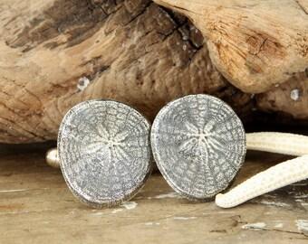 SAND DOLLAR Fine Silver Cufflinks (Ready to Ship)