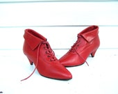 Vintage 9West Red Leather Ankle Boots