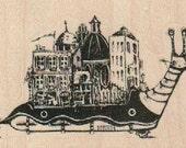 Snail with city on his back    Stamp whimsical  Rubber Stamp by Mary Vogel Lozinak  18975