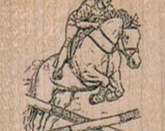 Steeplechase Horse Jumping wood mounted rubber stamp Stamp   Rubber Stamp  5149