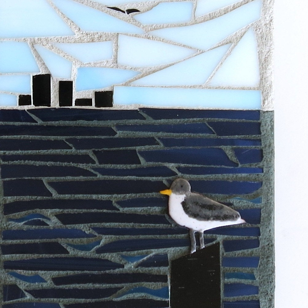 Artisan Wall Clock Seagull In The Bay Stained By Mosaicsmith
