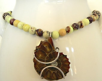 "Ammonite Fossil and African Turquoise Necklace, green necklace, 19"", fossil necklace"