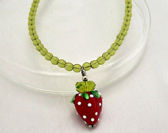 Simple Strawberry Necklace,  green glass bead necklace , lampwork pendant, fruit necklace, 18""