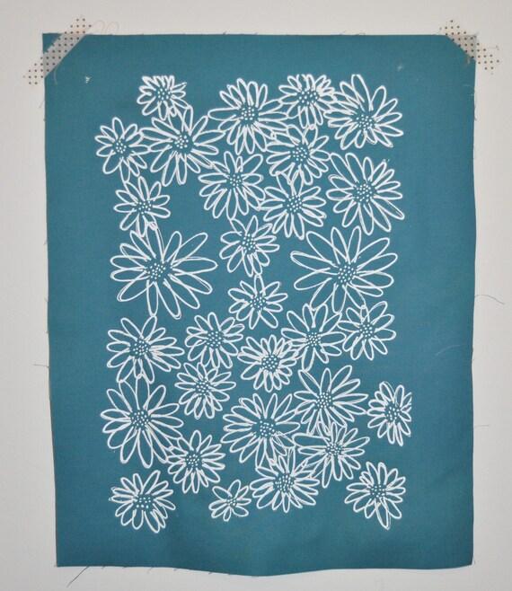 White on Teal Scruffy Daisy screen printed fabric