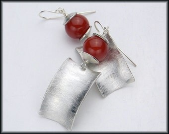 CHANDRA - Carnelian - Handforged Curved Concave Pewter & Sterling Earrings