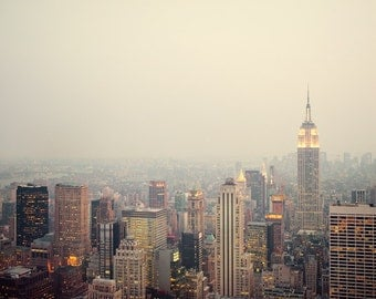 New York, NYC Photography, Manhattan skyline, Pastel, City lights at dusk, Travel, Empire State, Spring, 8x10 photo - The View