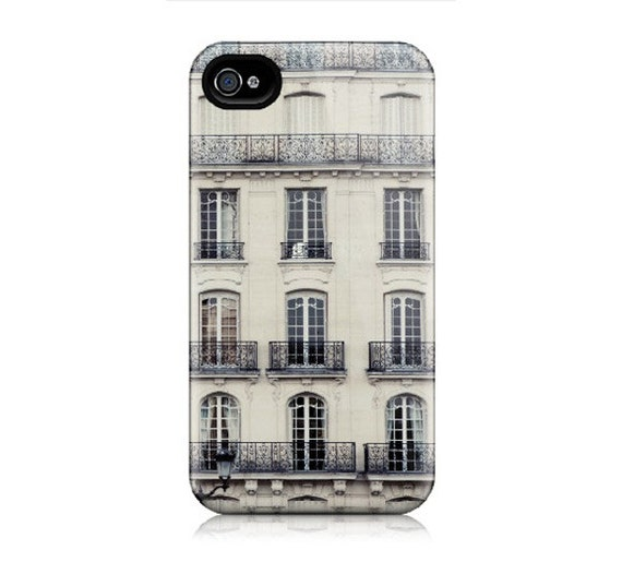 iPhone case for iPhone 4, iphone 4S - Paris Appartment Photograph, Windows, Blue, Beige, Cream, Architecture, Travel Photography - L'Appart