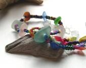 AQUA LAVENDER BLUE Rainbow Mix Genuine Sea Glass Bracelet By Lake Erie Beach Glass LEbg