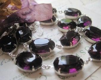 purple Statement Necklace, amethyst necklace, Anna Wintour necklace, sacred cake, georgian jewelry, collet, purple choker, dark purple.
