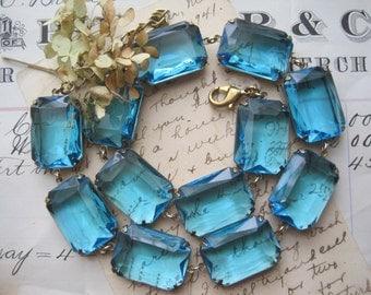 Gulf Breezes~ Aqua blue statement Necklace, aquamarine chunky vintage statement rhinestone collet necklace, Anna Wintour inspired.