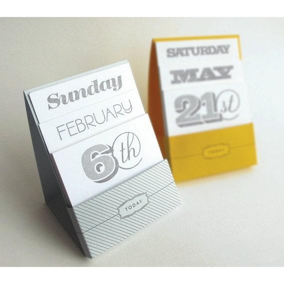 Perpetual Calendar Desk : Letterpress perpetual desk calendar