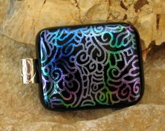 Dichroic Fused Glass Pendant, Fused Glass Pendant , Dichroic Glass Slide -Confusion
