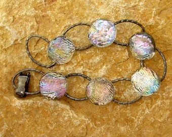 Fused Glass Bracelet , Dichroic Fused Glass Link Bracelet ,Crystal Rainbow Fused Glass Link Bracelet
