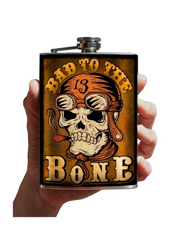 Bad to the Bone - stainless steel flask - 8oz.
