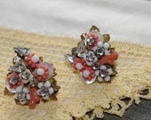 Vintage Branch Coral Earrings..Rhinestones..Beaded..Clip