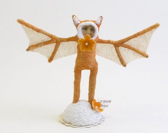 Spun Cotton Vintage Style Orange Bat Figure