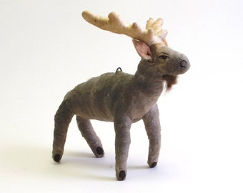 Vintage Inspired Spun Cotton Moose Ornament/Figure