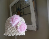 Baby Girl Beanie..Crochet..with Shabby Bow..Vintage Look
