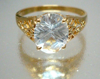 10k Solid Gold Spinel Oval Starcut Ring Cutout Sides Decorative Vintage Gorgeous