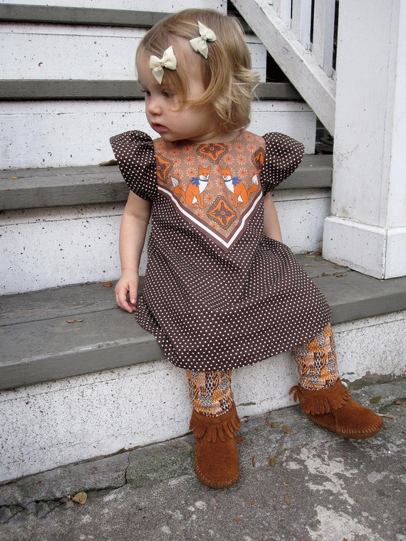 fox print polka dot dress baby toddler dress Supayana- brown