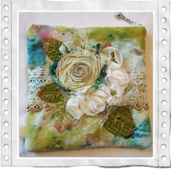 Prima Fabric & Flower Zipper Pouch - Marked on Sale