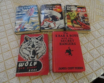 Lot of 5 Vintage Boy Young Adult Tom Swift X Bar X Boys Cub Scout Books