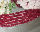 Ruby Red Jade Facet Rondell Donut 2x4mm Destash- Bastet's Beads-
