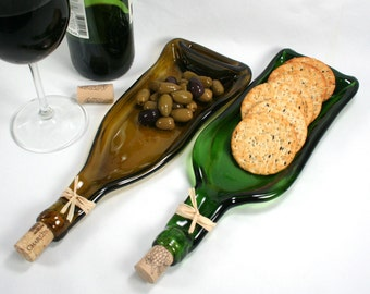 Gold Wine Bottle Serving Tray or Spoon Rest with Cork - Recycled Eco-Friendly
