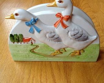 Duck ceramic napkin holder made in Japan