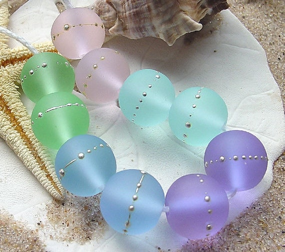 Beach Glass Orbs with Silver Wire - 10 Pastel Etched Beads - SRA