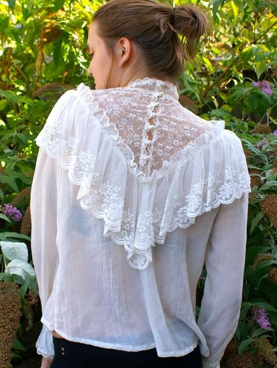 Vintage Victorian Lace Poet Blouse