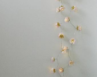 Longer Pale Pink and Cream with Saffron Shabby Rose Fairy Lights , Romantic Boho Fairy Lights